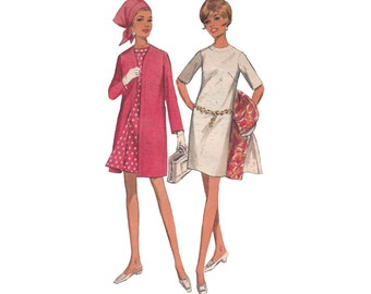 Vintage 1960s Coat and Dress Set Slim Dress with A Line Coat Bust 33 Butterick Sewing Pattern 4743 Elbow Length Sleeves Oval Neckline