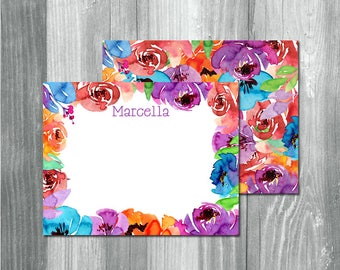 Watercolor Flower Thank You Cards, Watercolor Floral Note Cards, Watercolor Floral Notecards, Purple, Pink, Orange, Blue, Bright Watercolor