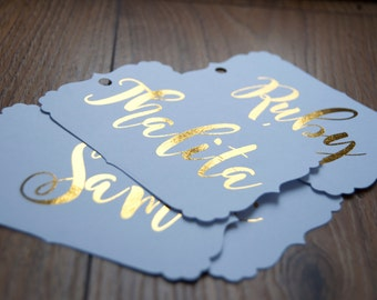 10x Personalised Foiled Gift Tags/Favour Tags
