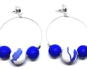 Sea Breeze Hoops ~ Silver Plated hoops with polymer clay beads