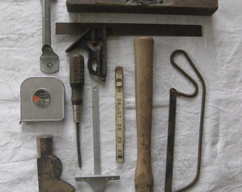 Destash Collection Builders Tools Salvage Old Worn Wood and Metal, Mixed Assorted Lot