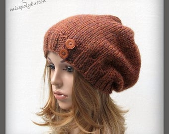 Chunky knitted slouch hat with buttons, hand knit rust colored fall or winter hat, baggy tam hat, slouchy hat
