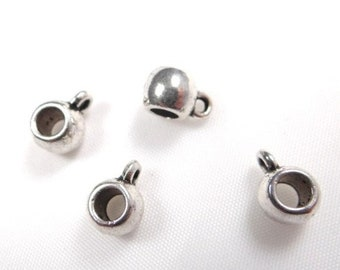 50 bails silver pendant 9 x 4 mm