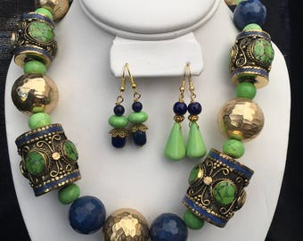 Apple green and Lapis