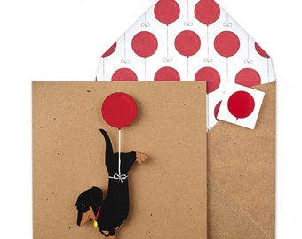 Personalised Handmade Birthday Dachshund with Balloon - Brown Recycled Square Card - Unique Printed Envelope & Seal - Cute Greetings Card