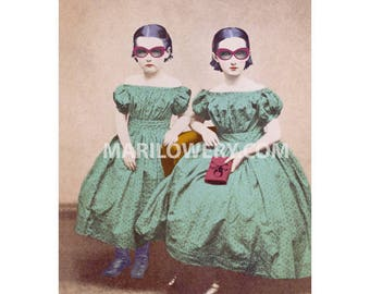 Mixed Media Collage Art Print, Whimsical Altered Portrait Photography of Victorian Sisters, 8x10 Print, Dorm Room Decor, frighten
