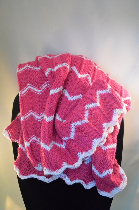 Dark Pink & White Knitted Chevron Baby Blanket