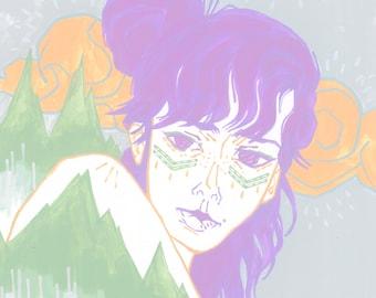 Violet | impression d'art 11 x 14 po. | illustration de hipster mode grunge pastel goth