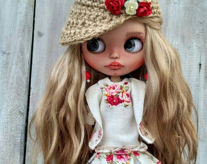 Vivien custom Blythe doll OOAK doll collectible doll mohair weft custom Blythe Blythe doll Blythe custom ooak