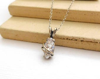 Vintage SSBY Clear Glass Rhinestone Silver Wrapped Pendant Choker Necklace MM24
