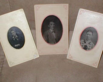 lot of three Antique Tin-Types Photos from the 1800's