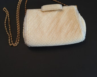 Sasha Purse ~ Beaded Purse ~Chain Strap~ Evening Bag ~ Off White ~ Wedding ~ Prom ~ Vintage