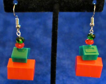 Monopoly Game Pieces Hotel and House Dangle Earrings