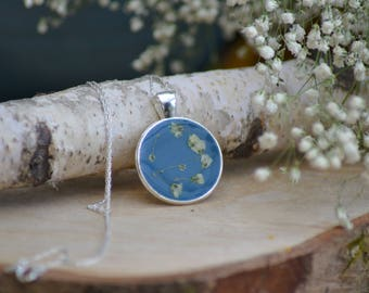 Blue resin pendant with white gypsophilia babies breath sterling silver necklace jewellery jewelry bridesmaid gift under 20 for her wedding