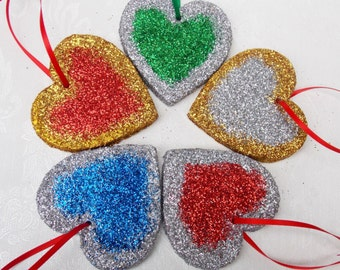 Glitter Heart, Heart Decoration, Wooden Decoration, Hanging Ornament, Glitter Decoration, Wedding, Hearts, Party Decoration
