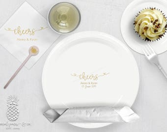 Cheers Wedding | Customizable Party Plates, Napkins or Cups | Weddings, Engagement Bridal Parties or Shower | social graces and Co