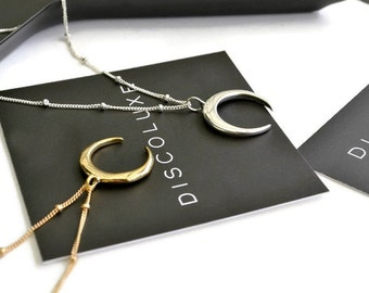Silver or Gold Crescent Moon Necklace | Double Horn Pendant | Tusk Necklace | Satellite Beaded Chain