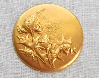 1 raw brass repousee floral medallion, pendant, charm, brass stamping, ornament, 38mm, made in the USA C5401