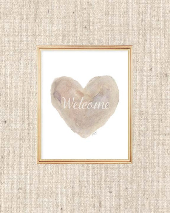 New Home Gift, Welcome Print for Natural Decor, 8x10