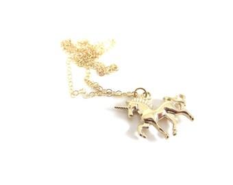 UNICORN NECKLACE | Tiny Unicorn Charm | Small 24K Gold Plated Minimalist Layering Necklace | Dainty Fantasy Fairytale Childrens Jewelry