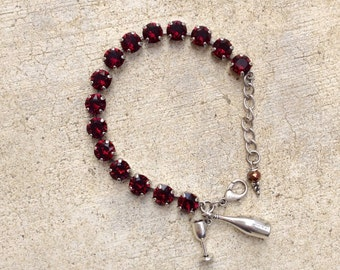 Swarovski Crystal Bracelet - wine lover jewelry - wine bracelet - crystal tennis - Gift under 40 - gift for her - burgundy white crystals