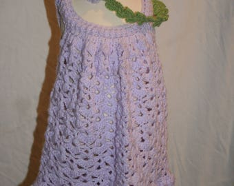 Handmade crochet toddler sundress and headband in Lilac