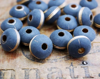 Matte Black and Gold Acrylic Bead West German Acrylic Beads (8) SV20
