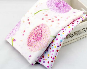 150cm / 59 inch Width, Pink Dandelion Twill Cotton Fabric, Clothes / Pillowcase / Sheet / Tablecloths Fabric