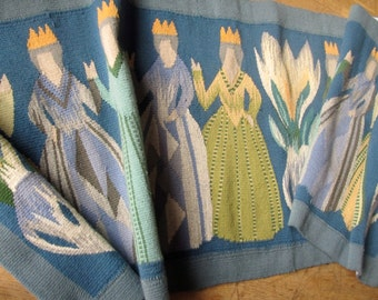 Huge Swedish Flemish Weaving Tapestry Wall Hanging Ten Princesses & Flowers 60's