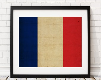 France Flag Art, France Flag Print, French Flag Poster, Country Flag, Flag Painting, France Poster, Wall Art, Paris Wall Decor, French Gifts
