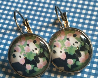 Panda bears glass cabochon earrings- 16mm