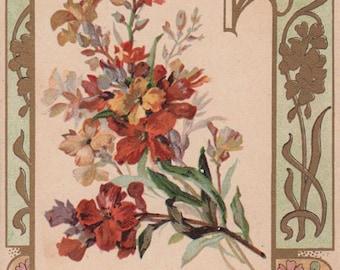 Wallflowers - Art Nouveau Gold Accented Frame Victorian Album Card