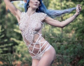 "Body harness ""PSYCO CIRCUS"" handmade body cage - body harness, Chest Harness, fetish bondagE"