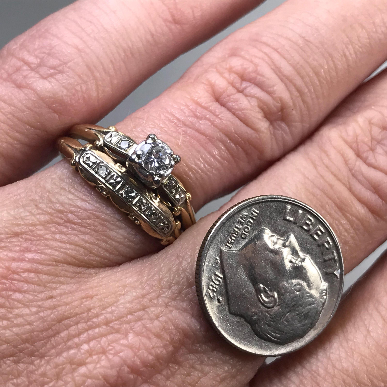 Vintage Diamond Engagement Ring. Diamond Wedding Band. Art Deco Ring ...