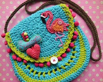 Crochet pattern - Flamingo crochet purse by VendulkaM - crochet handbag/ bag pattern/ digital, DIY, pdf