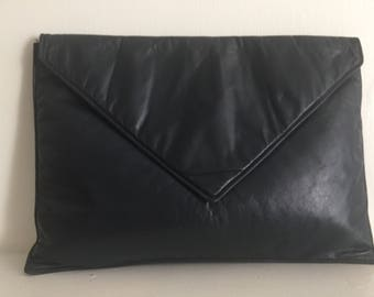 Very Large Navy Blue Leather Envelope Clutch