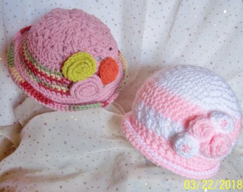 Cloche Bucket Girl Hat Soft Unique Pink/Multicolors  OR Pink /White U Choose Color