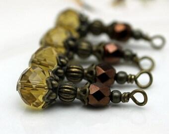 Golden Yellow Crystal Rondelle and Copper Czech Beaded Dangle Charm Drop Pendant, Earring Dangle