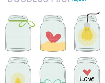 Mason Jars Collection Digital Clip Art for Scrapbooking Card Making Cupcake Toppers Paper Crafts