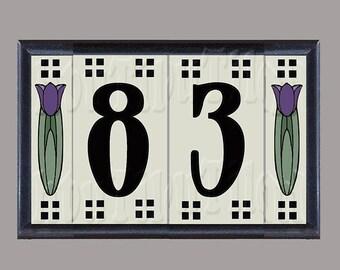 art nouveau house numbers address tiles framed or unframed
