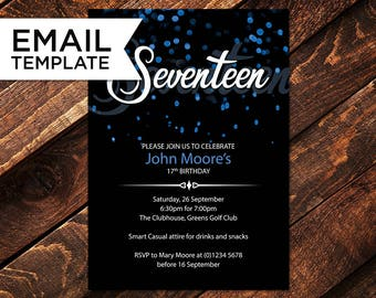 17th etsy 17th birthday invitation email invitations teenager birthday seventeen invitation 17th invitation editable stopboris Images