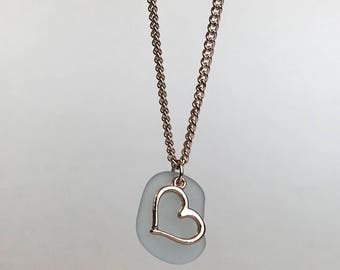 Genuine Aqua Sea Glass With Rose Gold Heart Necklace