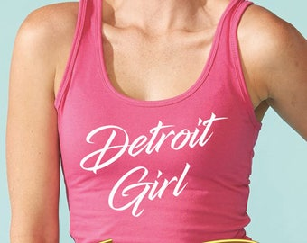 detroit girl women's racerback tank top (next level apparel)  |  detroit michigan pride