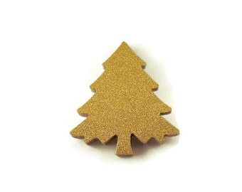 Die Cut Paper Christmas Trees  in  Glittered Gold  Quantity 20