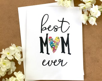 Best mom floral, Best mom ever card, Mothers day cards, Mom from daughter, Cute mother's day card, Card for mom, World's best mom card