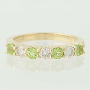 Peridot and Diamond Ring - 14k Yellow Gold April & August Birthstones 1.14ctw N3550
