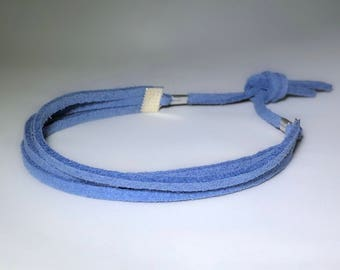 Blue Faux Suede Cord Bracelet with Silver Accents
