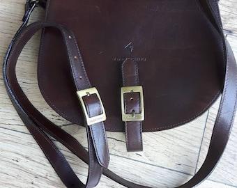Claudio Ferrico leather saddle shoulder crossbody bag