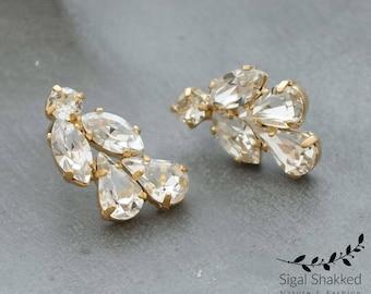 Bridal Crystal Earrings, Gold Crystal Earrings, Cluster Earrings, Gift For Her, Crystal Studs, Wedding Earrings, Bridesmaids Earrings