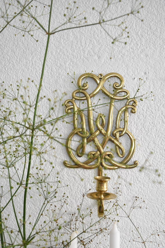 large brass metal wall hanging candlestick holder / candleholder